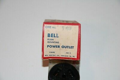 Vintage 1950s BELL ELECTRIC Deluxe FLUSH Mounting POWER OUTLET #160 - NEW 2