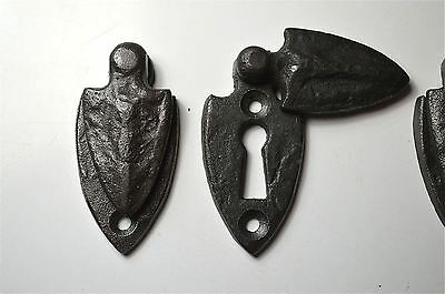 Set Of 5 Beaten Style Cast Iron Gothic Shield Door Keyhole Escutcheon Plate Cr3