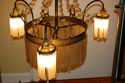 Antique Gorgeous Art Nouveau Brass Chandelier Glass Tubes Circa 19Th Century 12