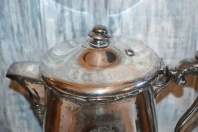 Antique F B Rogers Quadruple Silverplate Large Water Ice Pitcher Ceramic Lined 6