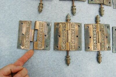 "Solid Brass Door Hinge Lot 10 Art Nouveau Chinoisery Butterfly 3 1/2"" Antique 11"