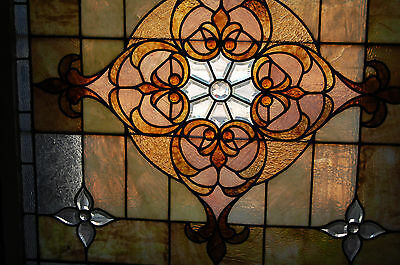 Large Antique Stained Glass Window Vibrant Colors Beveled  Glass 2 Available 8