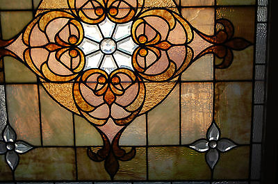 Large Antique Stained Glass Window Vibrant Colors Beveled  Glass 2 Available