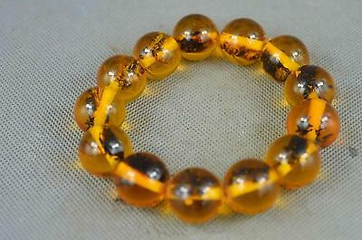 Collectible Handwork Amber Inner Inlay Insect Exorcism Auspicious Lucky Bracelet 3