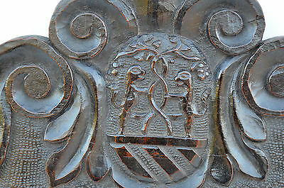 French Antique Gothic Hand Carved Walnut Wooden Pediment - Blazon 17th.c 4