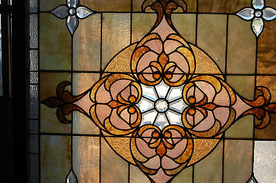 Large Antique Stained Glass Window Vibrant Colors Beveled  Glass 2 Available 2