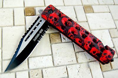 """8"""" Zombie War Tactical Combat Spring Assisted Open Pocket Rescue Knife Survival 3"""