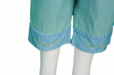 JACADI Girls Cornet Pale green 3/4 Pants w/ Floral Embroidery Sz 8 Years NWT 2