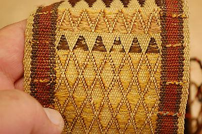 "MID 1800s ANTIQUE COLLECTORS SILK CAUCASIAN TENT BAND KILIM 3"" x 12' 9""    RARE 7"
