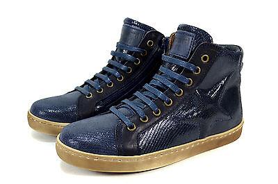 best sneakers 423fa c301d BISGAARD SNAKE KINDER Leder Schnür Schuhe mit Stern Sneaker Gr. 24-36 Blau  Neu