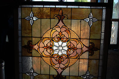 Large Antique Stained Glass Window Vibrant Colors Beveled  Glass 2 Available 9