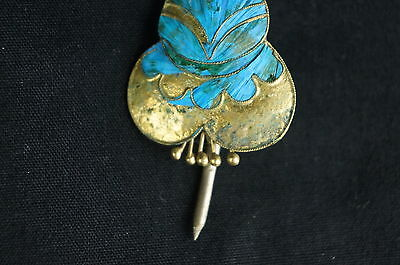 Rare Antique Chinese blue Kingfisher feather hair stick pin ornament [Y9-W6-A9] 3