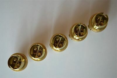 Set Of 5 Brass Small Bayonet B15 Fitting Bulb Holder Lamp C/W Shade Ring 10Mm L5 2