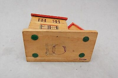 "Japan Made Wood House Bank Toy Hand Made Vintage 4 1/2""x 4 1/2 Twist Open Bottom 8"