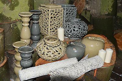 Windlicht laterne keramik xl gartendeko wohnungsdeko for Wohnungs deko