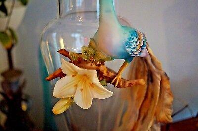"Vintage Cevik/ Capodimonte Peacock, 22"" tall glass and porcelain vase. 2"