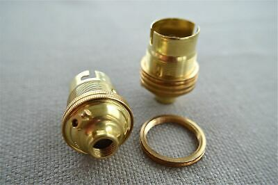 2 Brass Bayonet Fitting Bulb Holder Lamp Holder Earthed With Shade Ring 10Mm L2 3