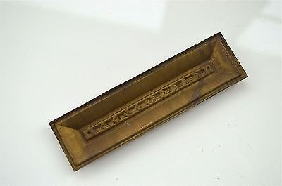 Original antique pressed brass furniture mount mirror cartouche emblem H10
