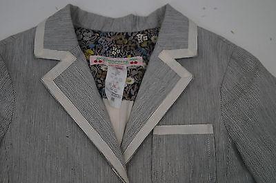 BONPOINT Baby Toddler Grey & Cream Cotton Linen Striped Formal Blazer Jacket 3Y 3