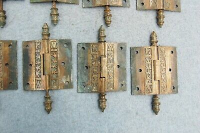 "Solid Brass Door Hinge Lot 10 Art Nouveau Chinoisery Butterfly 3 1/2"" Antique 8"