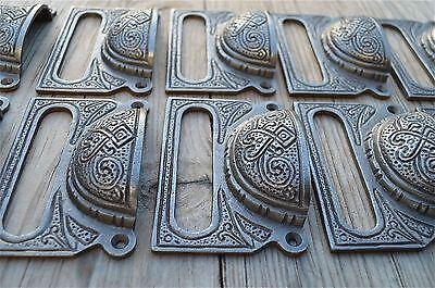 A Set Of 10 Large Edwardian Cast Iron Label Frame Handle Filing Drawer Pull Cb10 2