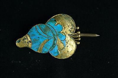 Rare Antique Chinese blue Kingfisher feather hair stick pin ornament [Y9-W6-A9] 6