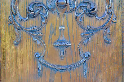 French Antique Carved Oak Wood Architectural Door Panel Gothic Chimeras Griffin 3