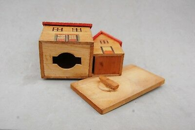 "Japan Made Wood House Bank Toy Hand Made Vintage 4 1/2""x 4 1/2 Twist Open Bottom 9"