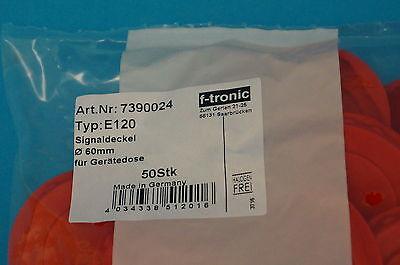 50 Stück Putzdeckel Signaldeckel Abdeckung Deckel rot für Schalterdosen Ø 60mm