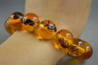 Collectible Handwork Amber Inner Inlay Insect Exorcism Auspicious Lucky Bracelet 2