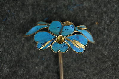 Antique Chinese blue Kingfisher feather hair stick pin ornament [Y9-W6-A9] 2