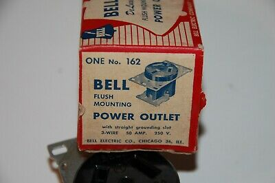 Vintage 1950s BELL ELECTRIC Deluxe FLUSH Mounting POWER OUTLET #162 - NEW 2