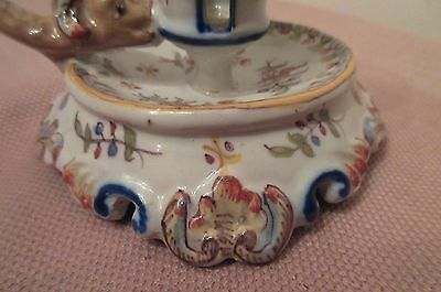 antique handmade Rouen Cornucopia French majolica porcelain candle stick holder 6