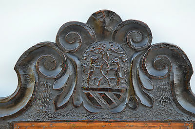 French Antique Gothic Hand Carved Walnut Wooden Pediment - Blazon 17th.c 2 • CAD $437.72