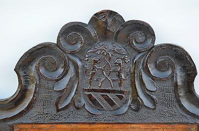 French Antique Gothic Hand Carved Walnut Wooden Pediment - Blazon 17th.c 2