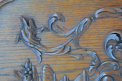 French Antique Carved Oak Wood Architectural Door Panel Gothic Chimeras Griffin 5