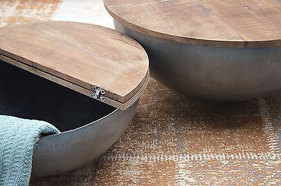 Design Couchtisch Mango Holz Suzan Metall Rund Beistelltisch