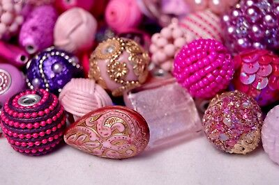 20 pieces Jesse James Beads Pink /& Purple Indonesian Hand Beaded JJB501