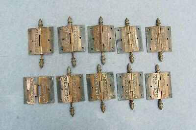 "Solid Brass Door Hinge Lot 10 Art Nouveau Chinoisery Butterfly 3 1/2"" Antique 7"