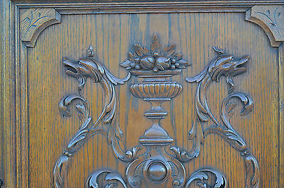French Antique Carved Oak Wood Architectural Door Panel Gothic Chimeras Griffin 2
