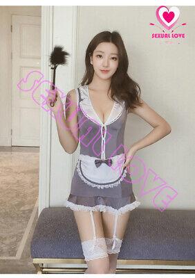 Abito Vestito Completo Costume Cameriera Maid Serva Lingerie Reggicalze Calze 3
