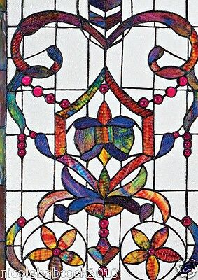 4 Foot European Antique Style Manor Estate Stained Glass Window Panel Authentic 3