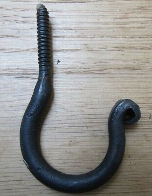 3 X SCREW IN CEILING HOOK hand forged rustic iron BLACK WAX old hanging utility 2