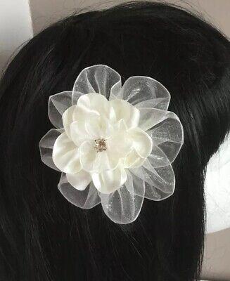 "Wedding Flowers Girl Ladies 3.5"" Ivory Flower Hair Clip Fascinator Satin Organza 4"