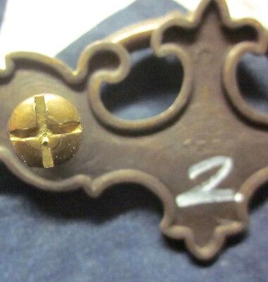 "Antique brass desk armoire dresser drawer drop bail pull handle 4-3/8"" 1588 6"