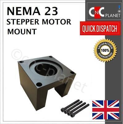 Nema 23 Stepper Motor Mount 57mm Aluminum Bracket + Screw Black base CNC UK FAST 6