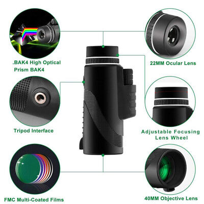 40x60 Clip-on Optical Zoom HD Telescope Camera Lens For Universal Cell Phone US 4