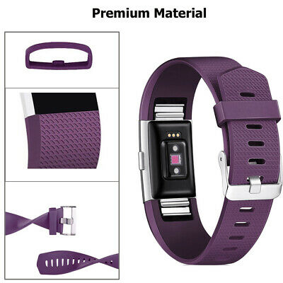 Fitbit Charge 2 Bands Replacement Silicone Metal Wristband Watch Strap Sports AU 6