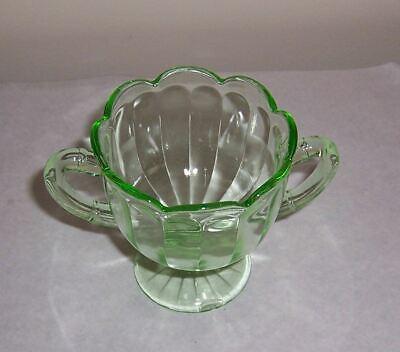 Footed Sugar Bowl Green Depression Glass - Scallop Rim - Paneled Sides 4