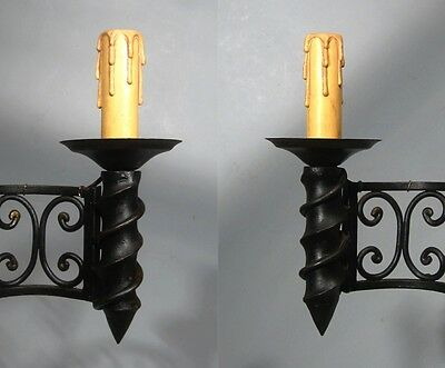 "Large Vintage French Wrought Iron Sconce, ""Chateau"" Style, 19 x 13 inches 7 • CAD $439.74"
